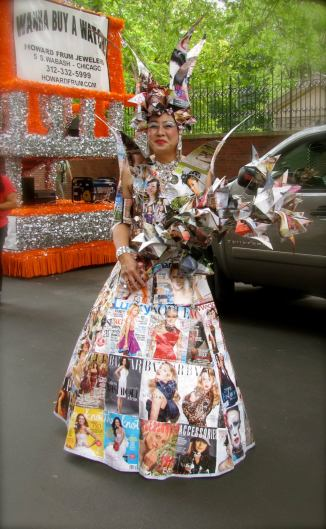 His ensemble is made entirely of fashion magazines.  Pride Parade, Chicago, IL.  June, 2012.