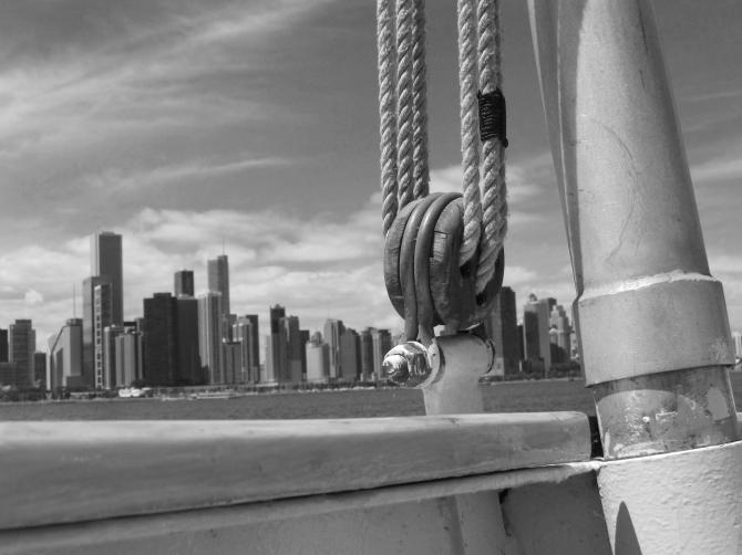 Shipboard.  Tall ship cruise on Lake Michigan.  July 29, 2013
