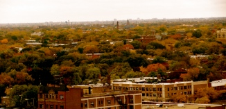 View to the southwest from my 19th floor apartment  in Edgewater neighborhood, Chicago, IL. October, 2009.