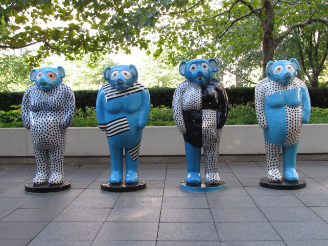 The Line Up.  Art installation in Millennium Park by  Jun Kaneko. October 2013.