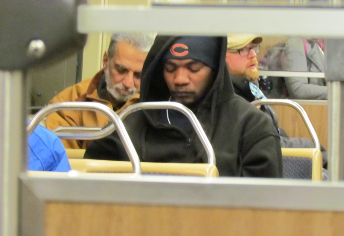 This Bear wants to hibernate. On the Red Line, Chicago, IL. October 18, 2013.